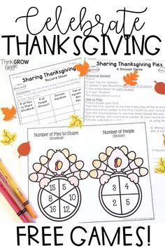 Looking for a Thanksgiving math games FREEBIE? These engaging and fun math games are perfect for math stations and centers this November. Activities and worksheets are common core aligned and meet the needs of your 3rd and 4th grade students. Practice subtraction and division with these hands on printables. Click to grab these free math games! #thanksgivingfreebie Free Math Games, Fun Math, Math Activities, Math Lesson Plans, Math Lessons, Thanksgiving Activities, Thanksgiving Ideas, Free Teaching Resources, Teaching Math