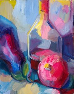 Still life with aubergine, pomegranate and brandy by Lena Levin, Painting - Oil | Zatista