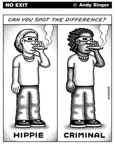 Hippie or Criminal © Andy Singer,Politicalcartoons.com,hippie,hippies,criminal,criminals,police,policing,cop,cops,law,enforcement,justice,court,courts,racism,racist,racists,racial,profile,profiling,black,blacks,African,Americans,african,americans,lives,matter,shooting,shootings,killings,violence,crime,race
