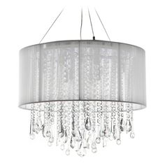 Avenue Lighting Beverly Drive Chrome Pendant Light with Drum Shade | HF1502-WHT | Destination Lighting