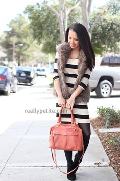 StylishPetite.com | Faux Fur and Stripes with a Pop of Orange