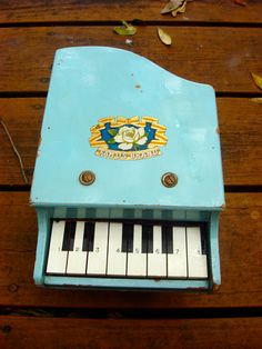 Antique Wooden Baby Blue Toy Piano 1950s