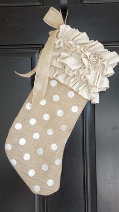 Unique   Silver Polka Dot Burlap and  ruffled by cindidavis1