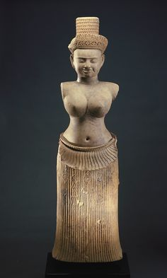 """danielwamba: """"  The Goddess Uma10th century Angkor period Sandstone H: 124.2 W: 37.5 D: 24.3 cm Koh Ker, Cambodia Gift of Arthur M. Sackler S1987.909 This hierarchic majestic figure wears a precisely pleated skirt whose downturned upper edge creates..."""