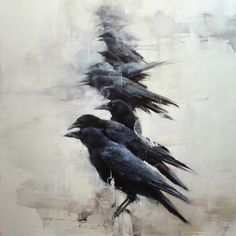 "cydoniasan: "" Texas Crow Bar by American painter Lindsey Kustusch. Crow Art, Raven Art, Bird Art, Corvo Tattoo, Crow Painting, Crows Ravens, Art Japonais, Wildlife Art, Pet Birds"