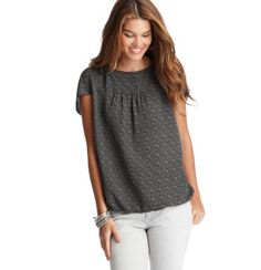 "Mini Graphic Print Cocoon Top  $59.50     In a playfully mini ""V"" print, this darling top channels contemporary sweet. Jewel neck. Short dolman sleeves. Gathered beneath front and back yoke. Gathered elasticized hem."