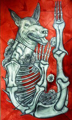 (xólotl,dios del atardecer, de los espíritus, de los gemelos y del Venus vespertino, él cual ayudaba a los muertos en su viaje al Mictlán, señor de la estrella de la tarde (Venus) y del inframundo. )diseño para concurso y exposicionde de calaveras SEA INBA