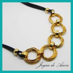 Collar Acero Dorado Círculos Torcidos+Cordón Negro - NX187