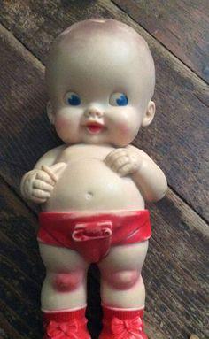 Vintage Antique Ruth E Newton Rubber Squeak Doll Sun Rubber Company Baby Red | eBay