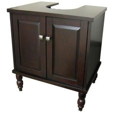 Espresso Sink Wrap Vanity Cabinet Adjustable For Pedestal Bathroom Sink  Storage