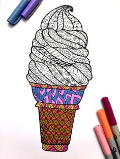 Ice Cream Cone PDF Zentangle Coloring Page by DJPenscript on Etsy