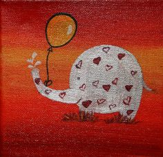 Elephant - Acrylic on canvas (sold) by Sandra Herrgott