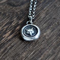 Fox necklace, sterling silver necklace, antique wax seal necklace, fox charm. Handmade necklace Wax Letter Seal, Midori, Washer Necklace, Pendant Necklace, Antique Wax, Wax Seals, Handmade Necklaces, Sterling Silver Necklaces, Pendants