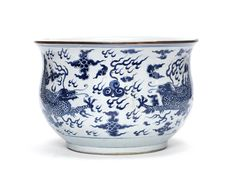 A_large_blue_and_white__dragon__incense_burner__Shunzhi_period__circa_1660