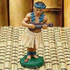 Hawaiian Hula Boy with Ukulele. www.teeliesfairygarden.com . . . Make your fairies' beach vacation more fun by having this Hula boy play music for them! #fairyboy