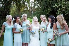 Mismatching bridesmaid dresses Egg shell blue