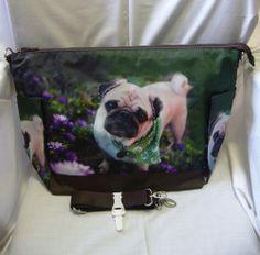 Dog Puppy Pet Pug Green Scarf Shoulder Tote Messenger Bag Handbag BAG265 NEW
