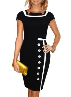 Miusol Black Sailor Nautical Pinup Vintage Retro Pencil Dress