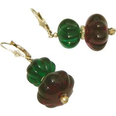 """Truly Stunning Vintage Amethyst & Emerald Melon Glass & Sterling Silver Drop Earrings.  ON SALE NOW at """"Vintage Jewelry Stars"""" shop at http://www.rubylane.com/shop/vintagejewelrystars !!"""