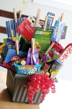 Great Easter basket idea for older kids, add in the bunny clothespins and Easter grass and it's perfect