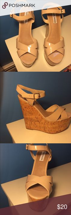 Steve Madden Bouncerr Nude Wedges US 9 Purchased in 2013 worn ONCE!! Perfect condition, 6 inch heels with 2 inch platforms. Steve Madden Shoes Wedges