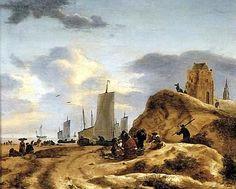 Egbert Lievensz van der Poel (1621-1664). Verschillende pinken zijn op het strand getrokken. De zeilen zijn nog niet gestreken. Op de voorgrond wordt vis verkocht en bovenop het duin kijken mensen naar de zee. Op de achtergrond de toren van de 'Oude Kerk' in Scheveningen.
