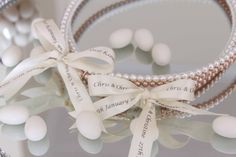 Greek Wedding Shop - Personalised White and Rose Gold Pearl Wedding Crowns. Wedding Crowns for your Greek Orthodox wedding ceremony (http://www.greekweddingshop.com/personalised-white-and-rose-gold-pearl-wedding-crowns/)