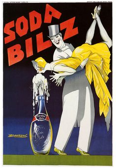 Soda Bilz Vintage French Poster giclee art print reproduction on fine heavy paper with deep, rich saturated colors. Available in different sizes, unframed or framed in black matte wood frame. Custom sizes available. Made in USA by Museum Outlets Vintage Italian Posters, Pub Vintage, Vintage Advertising Posters, Vintage Advertisements, French Vintage, Poster Vintage, Print Advertising, Cro Magnon, Illustrations