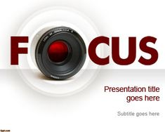 Free Focus PowerPoint Template with nice camera lens and FOCUS word. #PowerPoint #templates