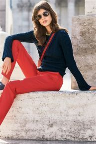 Navy Flute Sleeve Cable Sweater