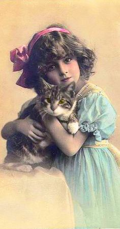 vintage girl with kitty postcard - creative commons