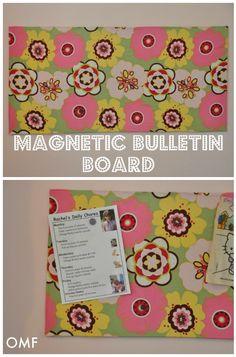 Magnetic Bulletin Board DIY  Pc of Sheet metal, metal cutters, fabric, spray adhesive,  3m tape to hang