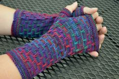 Flecktone fingerless gloves Using variegated sock wool so 4 ply.