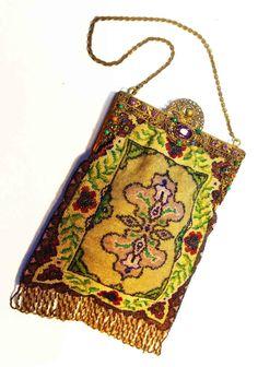1920s Venetian Micro Beaded Bag Purse jeweled by VintagePassionNew XMAS JAMIE