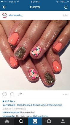 ❤Pretty manicure nail art for short nails Fabulous Nails, Gorgeous Nails, Pretty Nails, Get Nails, How To Do Nails, Manicure Y Pedicure, Short Nail Manicure, Sassy Nails, Peach Nails