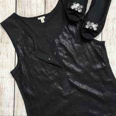 """[J.CREW] Sequin Henley Top BRAND: J CREW ITEM: Charcoal Sequin Henley Button Front Top FEATURES: Sequin Detail on Front/Button Front/Henley Style FABRIC: 100% Cotton (Exclusive of Decoration - Hand Wash/Dry Clean) SIZE: XXS CONDITION: Pre-Owned/Like New Condition  MEASUREMENTS Length: 22""""  Bust: 14""""   PLEASE NOTE: Measurements are approximate and taken while item is laying flat  ALL ITEMS SHIP FROM SMOKE FREE HOME! NO Trades. NO Holds. NO PayPal. NO Lowball Offers. Offer Button Only. J. Crew…"""