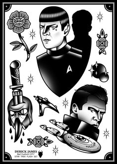 Star Trek Tattoo Flash | KYSA #ink #tattooflash #tattoo