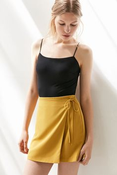 Silence + Noise Asymmetrical Wrap Mini Skirt