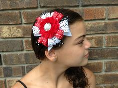 Red white and black Girls hair bow - hair clip - little girls hairbow - baby hairbow - hair bows