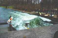 Eisbachwelle in Munich, surf spot in the city Visit Munich, Bavaria, Homeland, Beautiful Landscapes, Black Hoodie, Cosmos, Places Ive Been, Up, Surfing