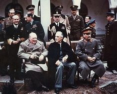 "The ""Big Three"" at the Yalta Conference in 1945; seated (from the left): Winston Churchill, Franklin D. Roosevelt, and Joseph Stalin"