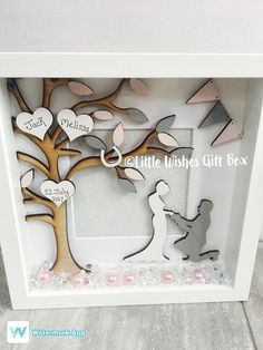 Your place to buy and sell all things handmade Engagement box frame photo frame tree freestanding or wall Box Frame Art, White Box Frame, Diy Shadow Box, Shadow Box Frames, Diy Family Tree Project, Arte Banksy, Engagement Frames, Family Photo Frames, Family Tree Frame