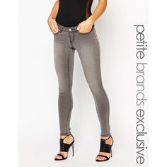 Noisy May Petite Eve Skinny Jean ($55) ❤ liked on Polyvore featuring jeans, grey, faded skinny jeans, super low rise skinny jeans, skinny leg jeans, grey skinny jeans and skinny fit denim jeans