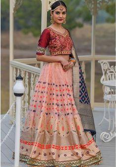 Blush Pink Banarasi Silk Lehenga Choli