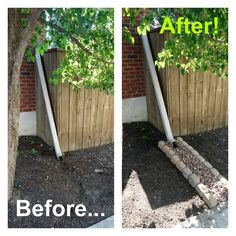 Downspout drainage aka a dry creek bed.Inspiration and how-to from Downspout drainage aka a dry cr Gutter Drainage, Backyard Drainage, Landscape Drainage, Landscape Curbing, Outdoor Landscaping, Front Yard Landscaping, Outdoor Gardens, Landscaping Trees, Dry Creek