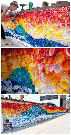 18 The most creative ways to recycle plastic bottles . - 18 The most creative ways to recycle plastic bottles bottle - Plastic Bottle Tops, Reuse Plastic Bottles, Plastic Bottle Crafts, Bottle Cap Crafts, Diy Bottle, Bottle Caps, Plastic Art, Recycled Bottles, Recycled Art Projects
