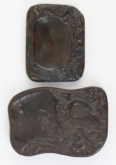 Two Chinese Ink Stones Carved Dragon  Phoenix
