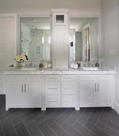 Gray Bathroom with Slate Herringbone Tiled Floor, Transitional, Bathroom