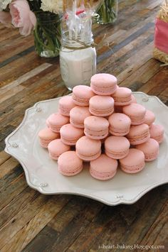 pink and white baby shower macarons