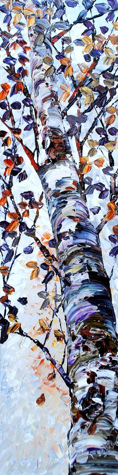 """Looking Up Shades of Grey"" 48x12"" Acrylic on Canvas by Maya Eventov. Available at Crescent Hill Gallery in Mississauga, ON"